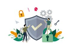 Free Internet Network Security, Computer Security With Small People Concept Vector Flat Illustration, Suitable For Background, Banner, Royalty Free Stock Photography - 160231627