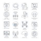 Internet And Network Thin Line Icons Stock Photos