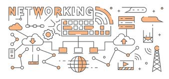 Internet And Networking Flat Line Design With Flat Orange Color. Youthful Geometric Doodle With Technology Theme vector illustration