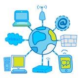 Internet-Netzwerkkommunikation Lizenzfreie Abbildung