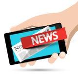 Internet News Design. Phone App with Human Hand. Vector stock illustration
