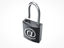 Internet not secure. Internet security padlock opened on white background Royalty Free Stock Photo