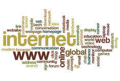 Internet - nuage de mot Photos libres de droits