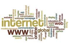 Internet - nuvem da palavra Fotos de Stock Royalty Free