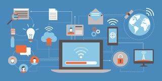 Internet och nätverk stock illustrationer