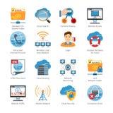 Internet och plan symbolsuppsättning för nätverk stock illustrationer