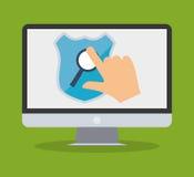 internet ochrony ręki dotyka komputerowa rewizja Obraz Stock