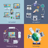 Internet Of Things 4 Flat Icons Royalty Free Stock Photography