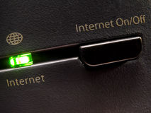 Internet, ON/OFF?. Detail of modem royalty free stock photography
