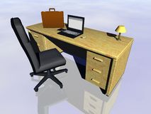 Internet in the office. Top view on a bureau with laptop, cell phone  and briefcase.  Bryce creation Royalty Free Stock Photos