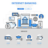 Internet online banking concept flat line art vector icons Royalty Free Stock Image