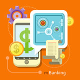 Internet Online Banking Concept. Internet online banking. Smartphone with sign of dollar and safe where enter a password to login to profile at bank flat design Royalty Free Stock Photo