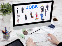 Internet Online Job Search application Concept in office Royalty Free Stock Images