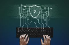Internet, online network, social networking and online application security system. Hand typing on computer keyboard stock photo