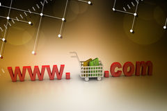 Internet online shopping concept with cart. In color background Stock Photos