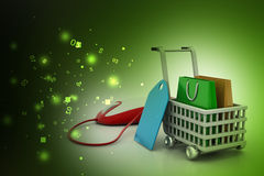 Internet online shopping concept with cart Royalty Free Stock Images