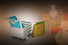 Internet online shopping concept with cart. In color background Royalty Free Stock Photography