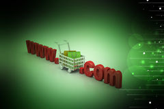 Internet online shopping concept with cart. In color background Royalty Free Stock Images