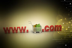 Internet online shopping concept with cart Stock Image