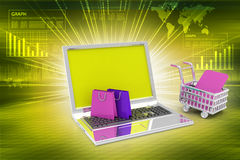 Internet online shopping concept with cart Royalty Free Stock Photography