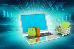 Internet online shopping concept with cart Royalty Free Stock Photos