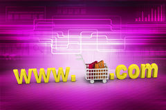 Internet online shopping concept with cart Stock Photos