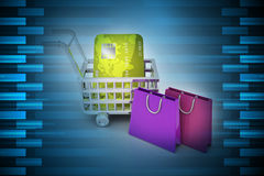 Internet online shopping concept with cart. In color background Stock Image