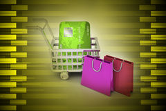 Internet online shopping concept with cart. In color background Stock Photography