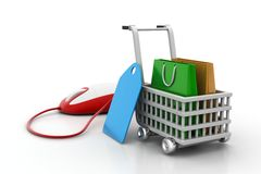 Internet online shopping concept with cart. In white background Stock Photography