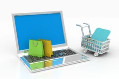 Internet online shopping concept with cart Royalty Free Stock Image