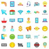Internet operator icons set, cartoon style. Internet operator icons set. Cartoon style of 36 internet operator vector icons for web isolated on white background Stock Photos