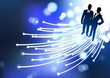 Internet optique de fibre d'homme d'affaires et de femme d'affaires illustration stock