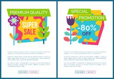 Internet Pages Set Special Promotion 80 Off Label. Internet pages set special promotion 80 off premium total sale labels, cartoon style flowers vector blooming Vector Illustration