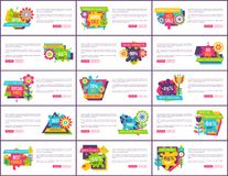 Internet Pages Set Special Promotion Premium Sale. Internet pages set special promotion premium total sale labels on horizontal posters, cartoon flowers vector Royalty Free Stock Images
