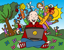 Internet Park. Cartoon of man using his computer in the park Royalty Free Stock Photography