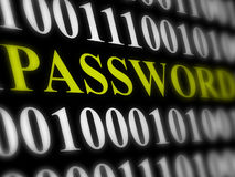 Internet password security concept. Binary code with text