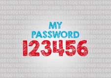 Internet password security concept. Binary code with text Stock Image