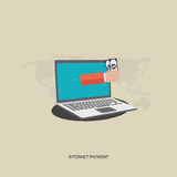 Internet payment. Flat  illustration. Hand with money Royalty Free Stock Photo