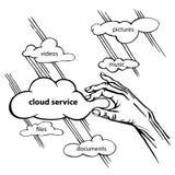Internet personale di dati di vettore di schizzo di servizio della nuvola Fotografia Stock