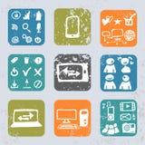 Internet-pictogrammen in uitstekende stijl Royalty-vrije Stock Foto