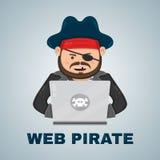 Internet-piraat met een laptop computer vector vlak geïsoleerde karakterillustratie Web en downloadinhoudsconcept Stock Afbeelding