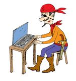 Internet pirate, cartoon Stock Photography