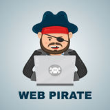 Internet pirate with a laptop computer. vector flat isolated character illustration. web and download content concept Stock Image