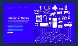 Internet plano del concepto de diseño del sitio web del diseño de la maqueta de las cosas (I libre illustration