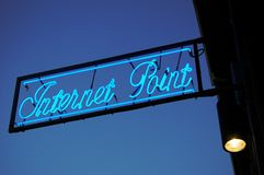 Internet point neon sign Royalty Free Stock Photo