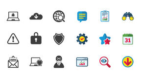 Internet privacy icons. Cyber crime signs. Stock Photography