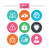 Internet privacy icons. Cyber crime signs. Royalty Free Stock Images