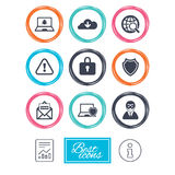 Internet privacy icons. Cyber crime signs. Royalty Free Stock Photos