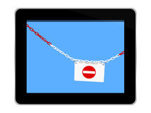 Internet privacy, security concept. Tablet  on white, with chain and No Entry sign. Stock Image