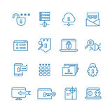 Internet protection and social security outline vector icons. Internet security system, web shield firewall for internet illustration Stock Photography